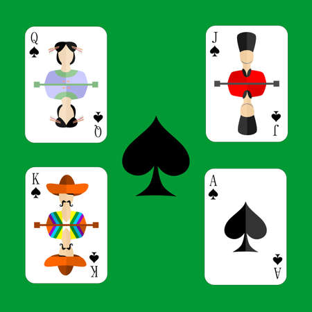 gamblers: beautiful and original set of designer playing cards in the style of flat design.