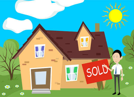 delivered: illustration in style of flat design on the theme of home sales.