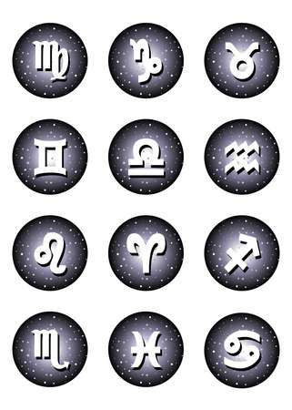 astronomer: Illustration - set of icons - with signs of zodiac on the background of universe. Illustration