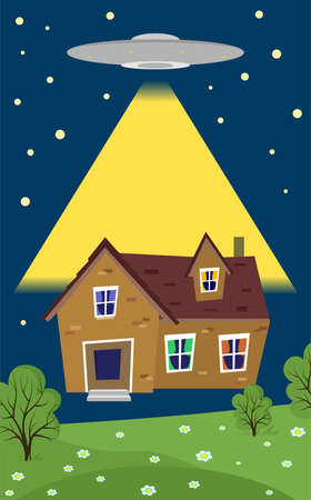 abduction: illustration in style of flat design on the theme of alien abductions of home. Illustration