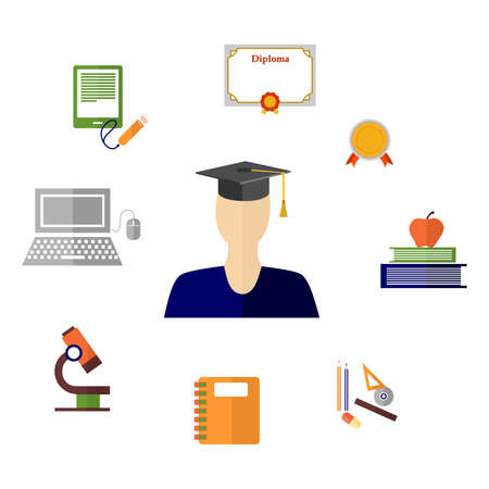 master degree: illustration in style of flat design on the theme of education.