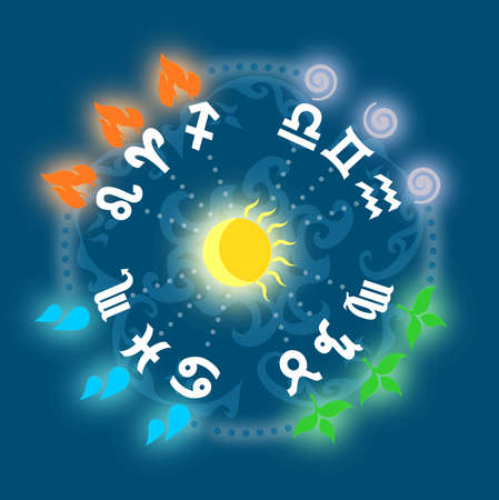 astrologer: Illustration - set of icons - with signs of zodiac and elements.