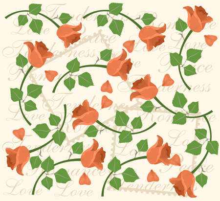 illustration - background - on the theme of flora with beautiful flower - the rose.