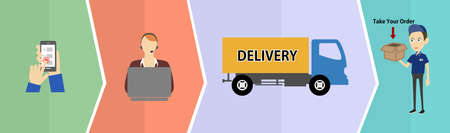 recipient: illustration in style of flat design on the theme of delivery of orders.