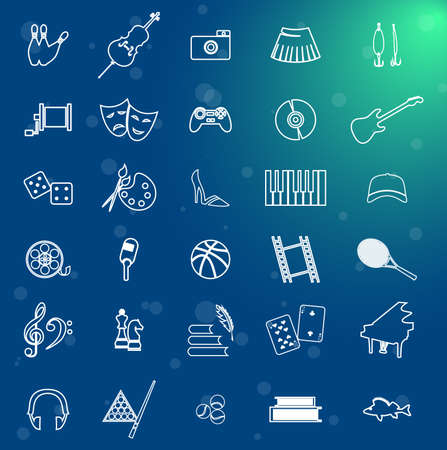 arts and entertainment: set of icons dedicated to arts, games, sport and entertainment. Illustration