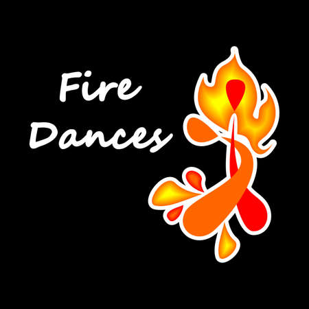 illustration with beautiful on the theme of fire dances. Illustration