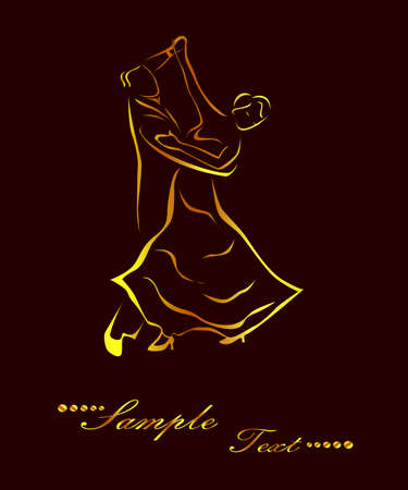 Illustration - silhouettes of people who dance waltz. Illustration