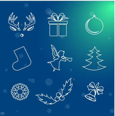 shoe box: bright and beautiful illustration on the theme of Christmas and New Year.