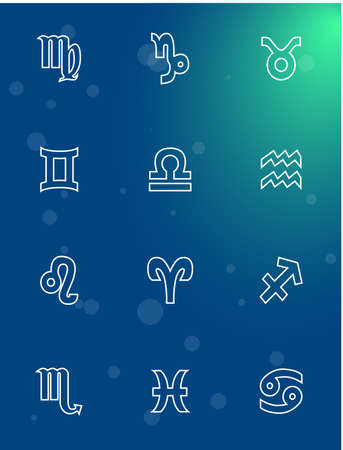 astronomer: Illustration - set of icons - with signs of zodiac. Illustration