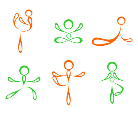 esoterics: Illustration - set of silhouettes of people who practice yoga.
