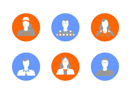 family outside: Illustration in style of a flat design with a set of portraits of people.