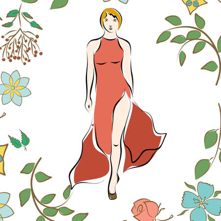 Illustration in style of a sketch on the theme of fashion and style.