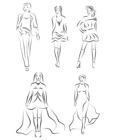 elegancy: Illustration in style of a sketch on the theme of fashion and style.