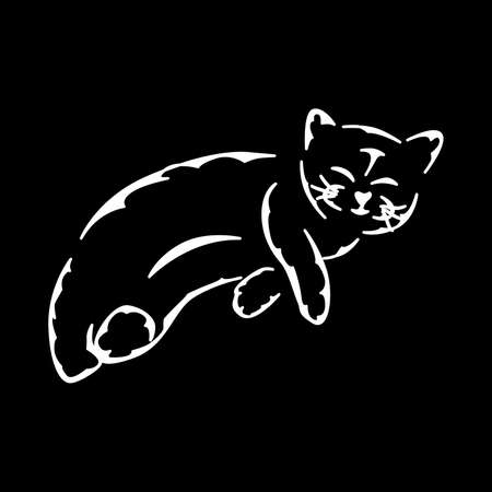 illustration of a silhouette of a beautiful cat in white.