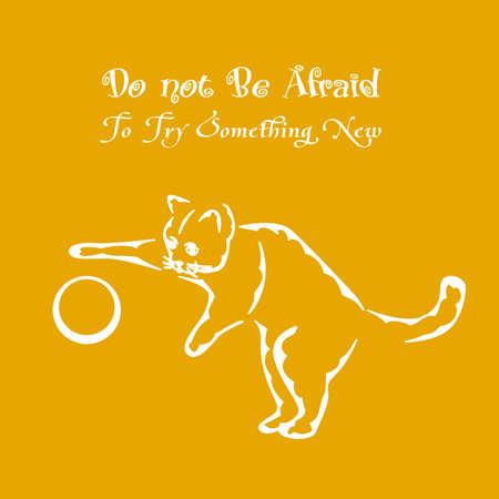 eslogan: ilustración de una silueta blanca de un gato y un buen consejo. Vectores