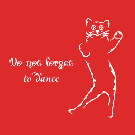 motivator: illustration of a white silhouette of a cat and good advice.