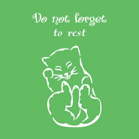 frisky: illustration of a white silhouette of a cat and good advice.