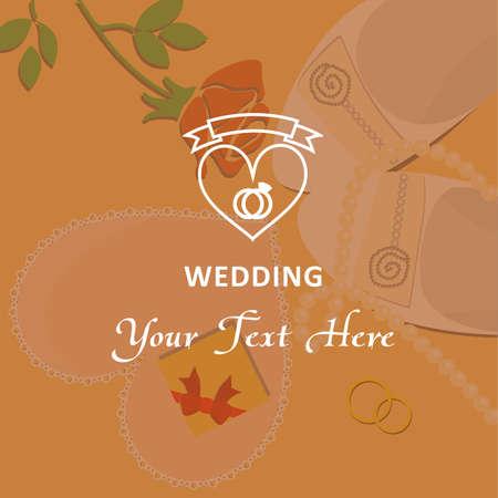 beautiful illustration - logo - on the theme of the wedding.