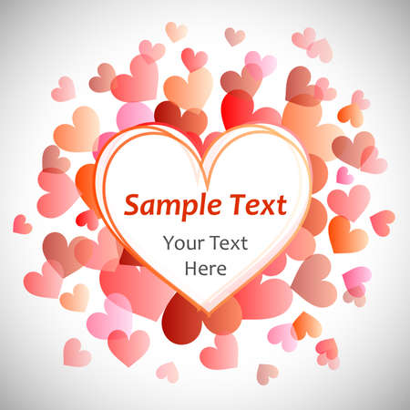 bright and beautiful illustration with hearts - a template for the text. Illustration