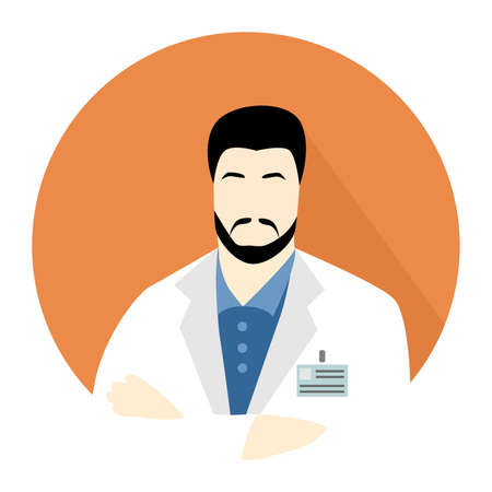 Illustration in style of a flat design with a man scientist.