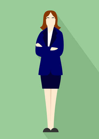 Illustration in style of a flat design with a businesswoman.