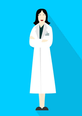 Illustration in style of a flat design with a woman scientist.