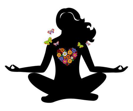 la ilustración en el tema de la meditación. Ilustración de vector
