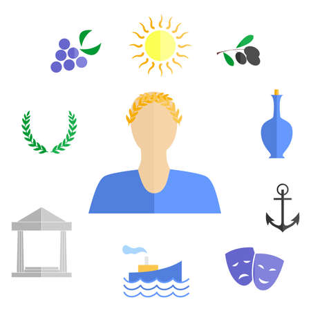 amphitheater: set of icons in the style of a flat design on the theme of greece. Illustration