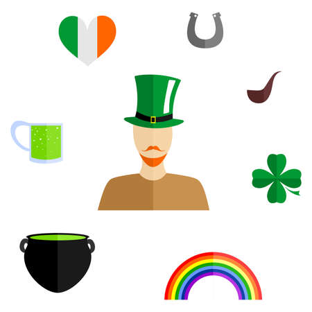 celts: set of icons in the style of a flat design on the theme of Ireland.