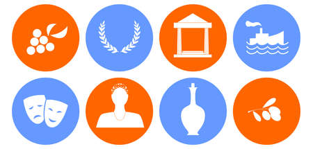 set of icons in the style of a flat design on the theme of greece. Illustration