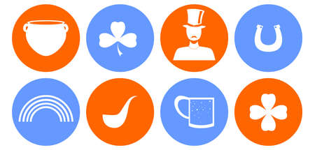 set of icons in the style of a flat design on the theme of Ireland.