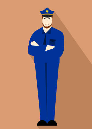 facial hair: Illustration in style of a flat design with a police man.