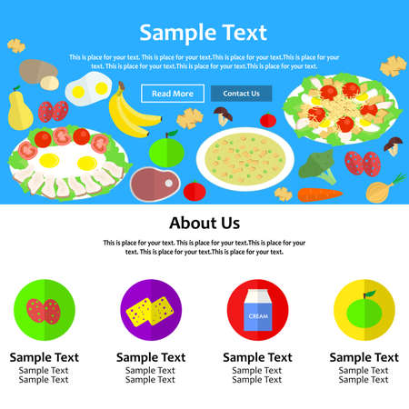 the illustration - landing page - on the theme of food.