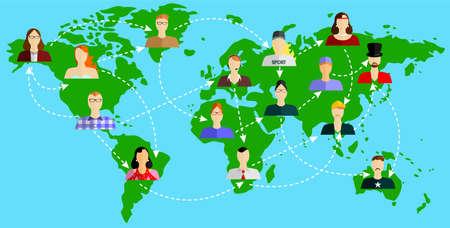 demografia: la ilustración de estilo de diseño plano con el mapa y las personas.