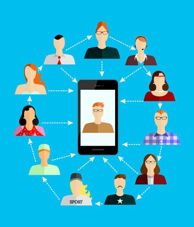 demografia: la ilustración de estilo de diseño plano con el teléfono inteligente y la gente.