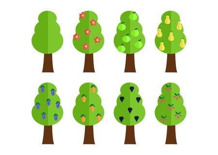 the illustration in style of flat design - a set of trees.