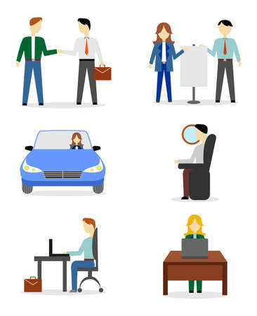 illustration in style of flat design with people and business. Ilustracja