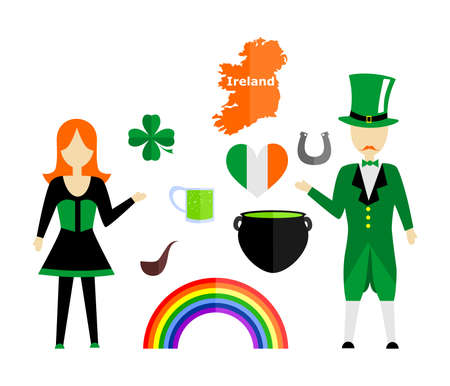 set in the style of a flat design on the theme of Ireland. Illustration
