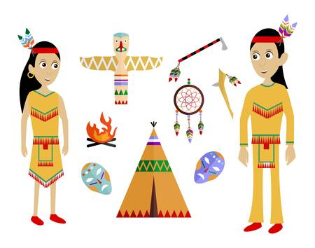 set in the style of a flat design on the theme of Indians.