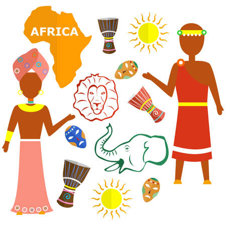 indigene: set in the style of a flat design on the theme of Africa.