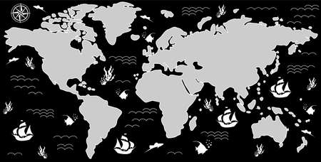 ship with gift: illustration with a beautiful map of all the continents and oceans. Illustration