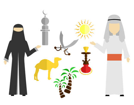 set in the style of a flat design on the theme of arabs.
