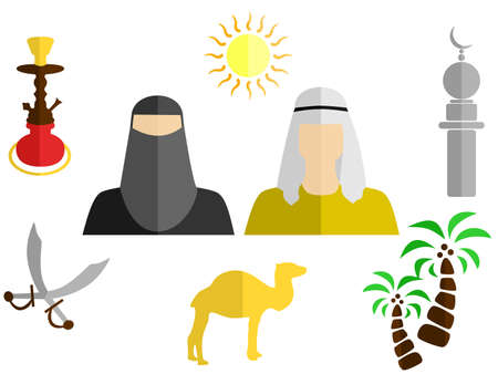Sheikh: set of icons in the style of a flat design on the theme of arabs.
