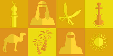 yemen: set of icons in the style of a flat design on the theme of arabs.