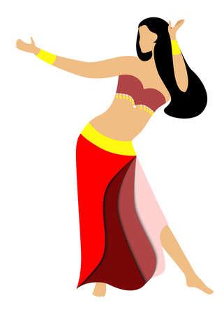 de illustratie van een mooie vrouw - oosterse danser.