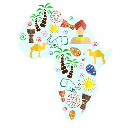 conjunto de iconos en el estilo de un diseño plano sobre el tema de África. Ilustración de vector