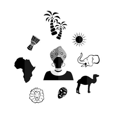 indigene: set of icons in the style of a flat design on the theme of Africa.