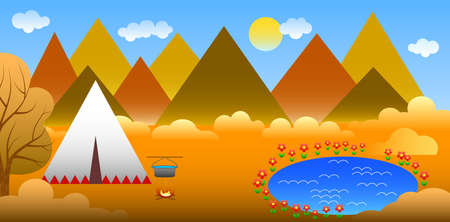 alpinism: illustration in style of material design with mountain landscape.