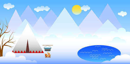 illustration in style of material design with mountain landscape.