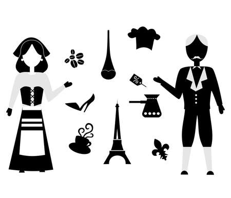 frenchwoman: set of icons in the style of a flat design on the theme of france.